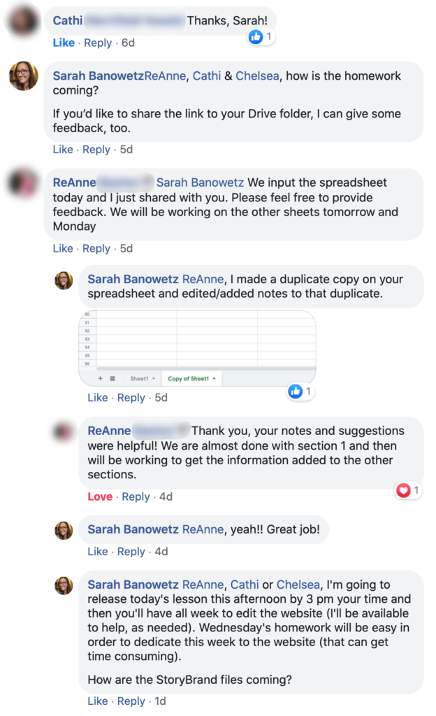 Screenshot of a FB Group Message Feed