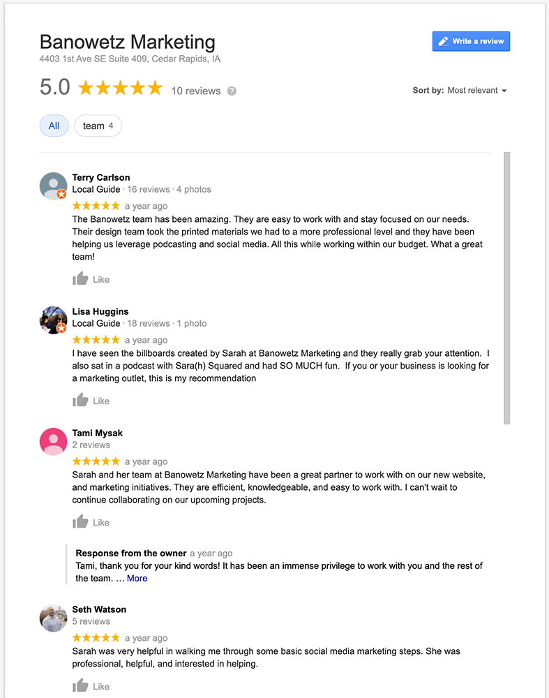 Screenshot of Banowetz Marketing Google Reviews