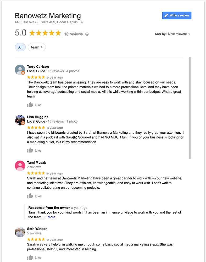 Screenshot of Banowetz Marketing Google Reviews