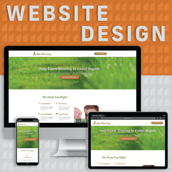 """Text that says """"website design"""" next to a computer, a tablet and a phone showing a basic website"""