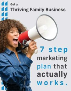 """Cover of a document with a woman talking into an amplifier with the text """"7 strp marketing plan that actually works""""."""